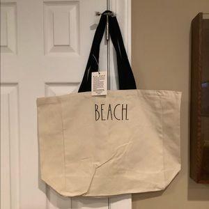 Rae Dunn Large Canvas Fabric BEACH Tote Bag 🏖